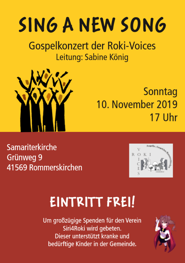 Sing a new Song – Gospelkonzert der Roki-Voices am 10.11.2019 – Eintritt frei !